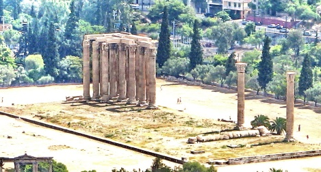 Remains of temple below Acropolis