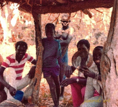 Drinking palm wine with Landing Bojam (red stripes) and his friends at Tendaba village - Gambia (1979)