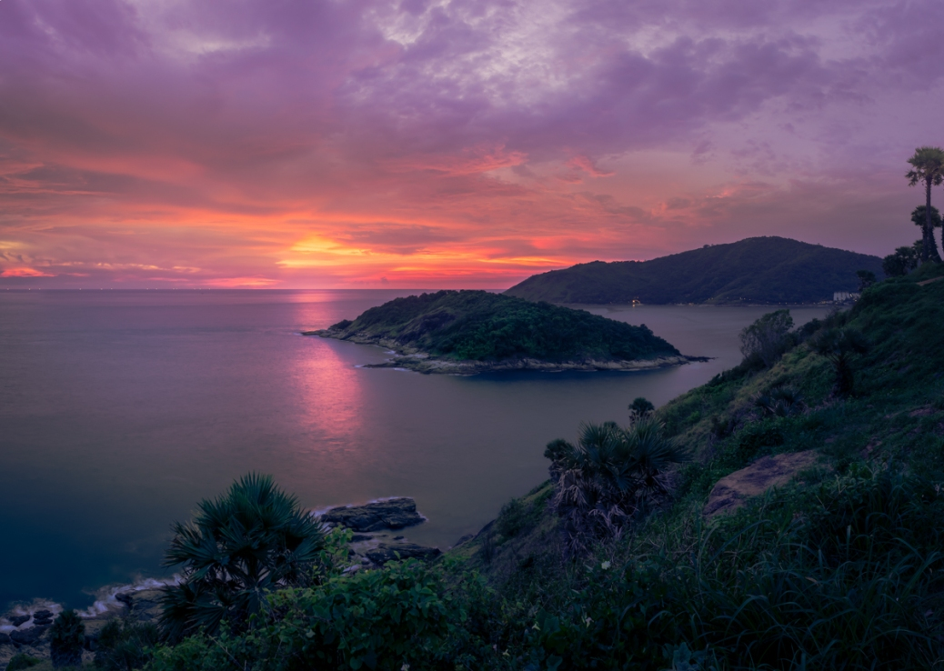 As the sun slips below the horizon Promthep Cape prepares to sleep